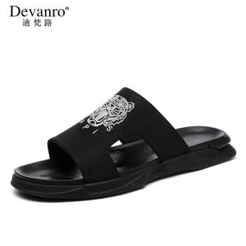 迪梵路ブランドの男性用スリッパの個性韓国版2020新型の夏の外はファッションの室外を着て寒くてつるつるして港の風の男性靴の黒色の40を止めます。